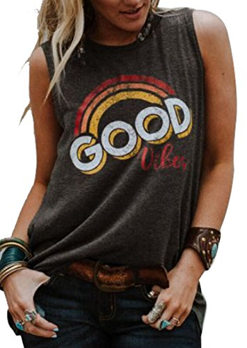 Good Vibes O-Neck Tank Funny Saying Tank Tops for Women Fashion Letter Print Tank Top Shirt Size M (Gray)