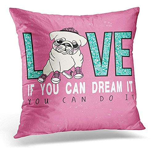 (Throw Pillow Cover Dog Slogan Cute Pug Embroidery Graphic Tee Printed Winter Decorative Pillow Case Home Decor Square 18