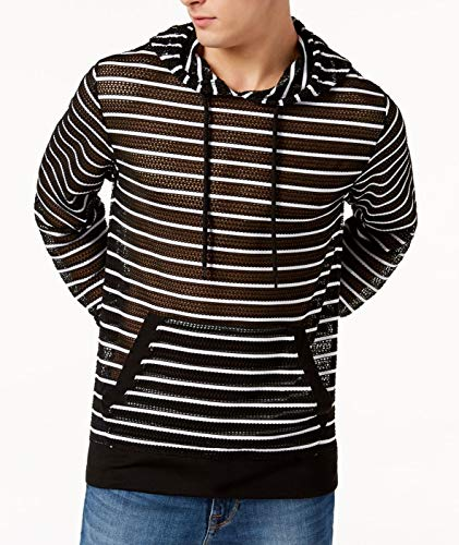 GUESS Mens Large Drawstring Hooded Striped Mesh Sweater Black L