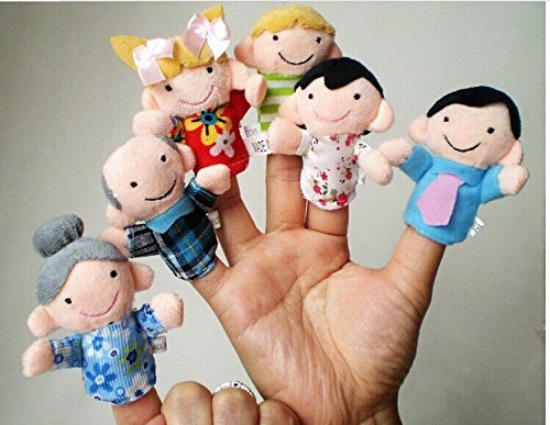 Hot! 6Pcs/lot Family Finger fantoches de dedo Puppets Cloth Doll Baby Educational Hand Toy Story Kid