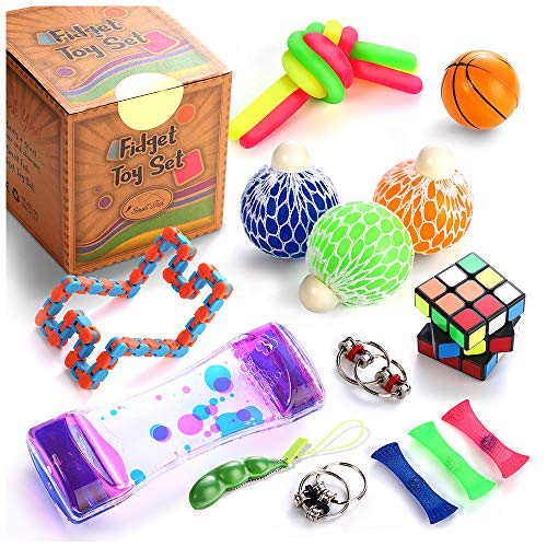 (Fidget Toys Set, 16 Pcs. Sensory Tools Bundle for Stress Relief and Anti-Anxiety for Kids and Adults, Marble and Mesh, Pack of Squeeze Balls, Soybean Squeeze, Flippy Chain, Liquid Motion Timer & More)