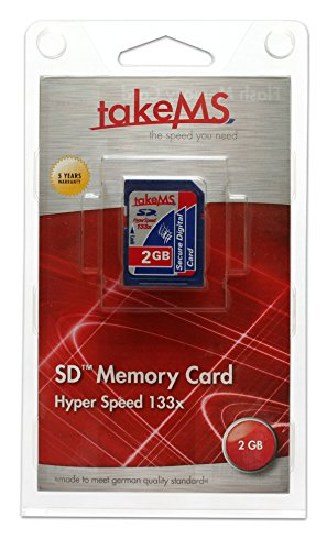 - Takems 2GB SD Secure Digital Hyper Speed flash memory card (very fast 133x speed - 5 years warranty) Retail package