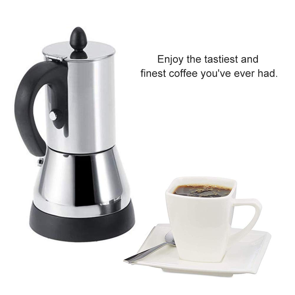 FenRui Stainless Steel Coffee Pot/Portable Electric Moka Pot, with Filter and Heat Resistant Handle, for Home/Office or Traveling Use (480W, 300ml, Silver) by FenRui (Image #2)