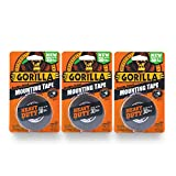 Gorilla 6055001-3 Double-Sided Heavy Duty Mounting Tape (3 Pack), 1'' x 60'', Black