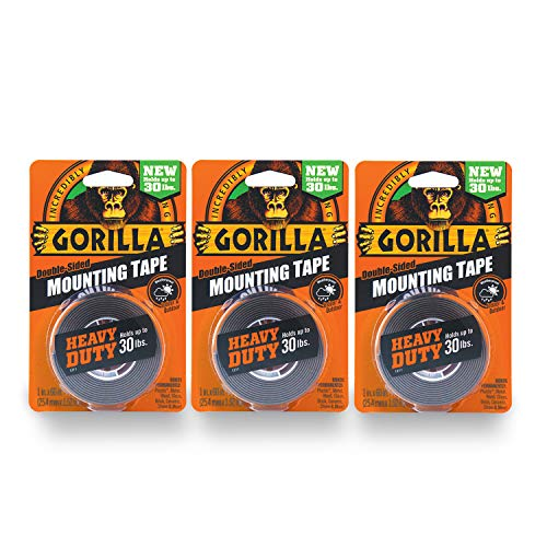 Gorilla Heavy Duty Double Sided Mounting Tape, 1 Inch x 60 Inches, Black(Pack of 3)
