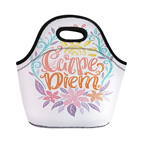 Semtomn Lunch Tote Bag Carpe Diem Lettering Seize the Day Unique Creative Typographic Reusable Neoprene Insulated Thermal Outdoor Picnic Lunchbox for Men Women