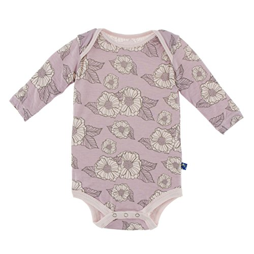 KicKee Pants Little Girls Print Long Sleeve One Piece, Sweet Pea Poppies, 3-6 Months