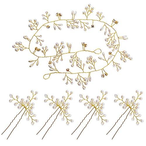 BETESSIN Kit Perla Tocado de Novia para Pelo - 1pc Tiaras de Novia Cristal Diadema Nupcial de Flores Corona + 4pcs Horquillas para Pelo para Boda Fiesta Velada(Dorado, 50cm, + 4pcs horquillas)