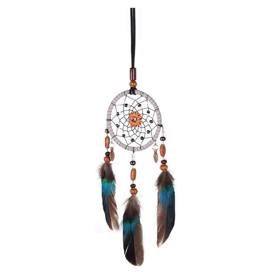XILALU Large Handmade Dream Catcher, Traditional Feather Bead Lace Hanging Home/Bedroom Wall Decoration Bohemia Ornament Gift(Total Length: 55 cm)