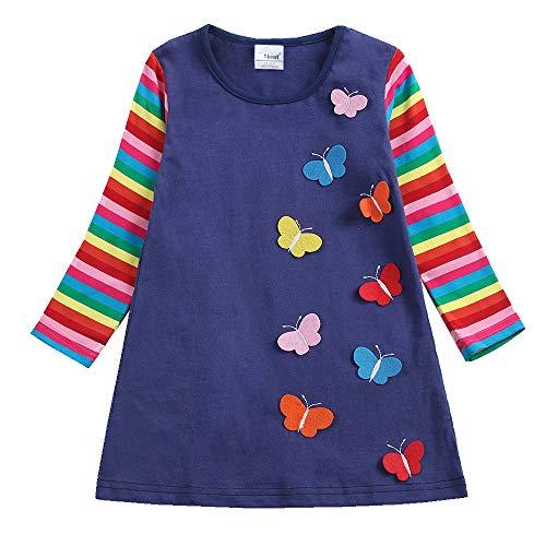 - JUXINSU Winter Toddler Girl Flower Cotton Long Sleeve Dresses Animal Pony Butterfly Striped for Kids 1-6 Years (AL6463Navy, 3T)