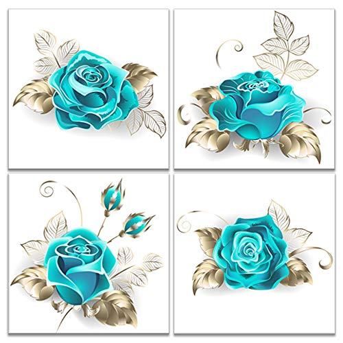 iKNOW FOTO Canvas Set of 4 Wall Art for Bedroom Turquoise Flowers Paintings on Canvas Still Life Art Prints Framed Artwork for Home Decor Valentines Gift 12x12inchx4pcs