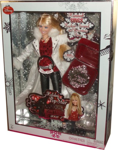 (Disney 2008 Hannah Montana Holiday Pop Star 11 Inch Singing Doll - Hannah Montana in Cool Christmas Fashion Plus Holiday Keepsake and Display Stand)