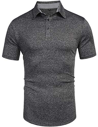 - Daupanzees Men's Polo Shirts Classic Fit Three-Button Placket Straight Fit Contrast Striped Trim Short Sleeve Polo Shirt Gray