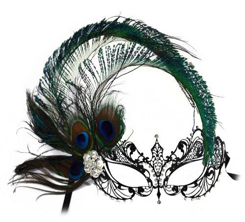Success Creations Corrine Laser-Cut Metal Black Venetian Women's Masquerade Mask w/Side Peacock -