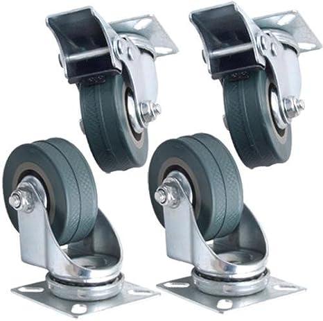 Kabalo Conjunto de 4 x Giratorio de Alta Resistencia GRIS CAUCHO 50 mm (2 pulgadas) Castor / Ruedas de Fundición (2 x estándar, 2 x freno), 40 kg Capacidad de carga por rueda [Set of 4 x Swivel Heavy