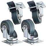 Set of 4 x Kabalo Swivel Heavy Duty GREY RUBBER 50mm (2 inch) Castor / Caster Wheels (2 x standard, 2 x brake), Load capacity 40kg per wheel