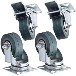 Set of 4 x kabalo swivel heavy duty grey - Roulettes industrielles pour meubles ...