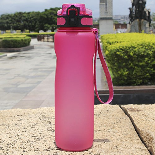 Chiffony Sports Water Bottle-27oz (800ML) Portable BPA-Free Plastic Lightweight Drinking Cup,Flip Top Lid,Eastman Tritan,Leak-Proof(Pink) by Chiffony (Image #4)