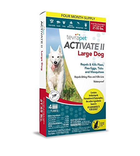 TevraPet Activate II Flea and Tick Topical, Dogs 21-55 lb, Large (Pack of 4) by TevraPet