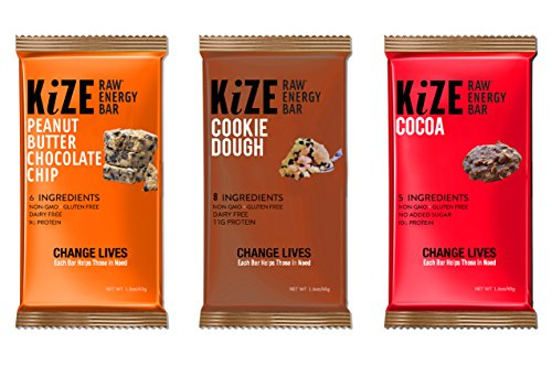 KiZE – (10 Pack) Raw Energy Bars – Chocolate Lovers Variety Pack – Non GMO, Gluten Free, No Added Sugar, Bulletproof