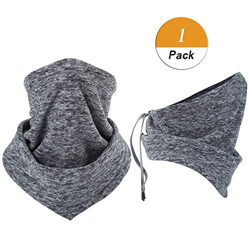 (LongLong Neck Warmer Gaiter- Winter Thicken Soft Elastic Fleece Skiing Face Scarf Mask)