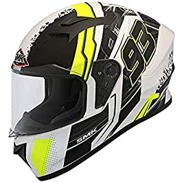 SMK Helmets – Stellar – Swank – White Black Yellow – Pinlock Anti Fog Lens Fitted Single Clear Visor Full Face Helmet…