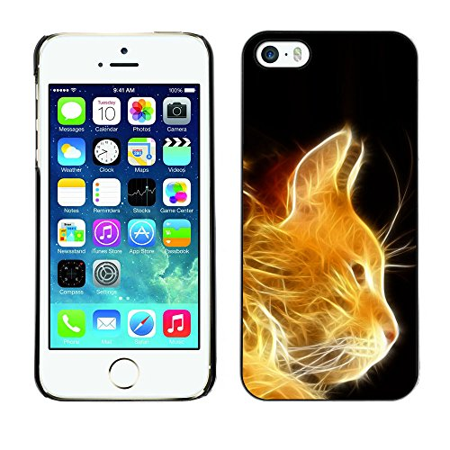 TaiTech / Case Cover Housse Coque étui - Cat Fire Ginger Orange Portrait Flames Furry - Apple iPhone 5 / 5S