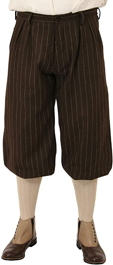 1930s Mens High Waisted Pants, Wide Leg Trousers Historical Emporium Mens Bosworth Wool Blend Pinstripe Knickers $82.95 AT vintagedancer.com