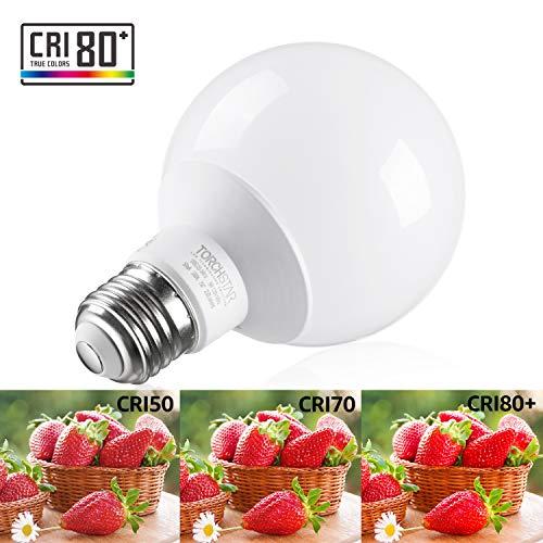 TORCHSTAR 12 Pack - UL & Energy Star Listed - 5W 40W Equiv. G25 LED Bulb, Globe Vanity Light, 3000K Warm White, Medium E26 Base, Omnidirectional Bulb for Bath, Pendant, Dressing Room & Vanity Strip
