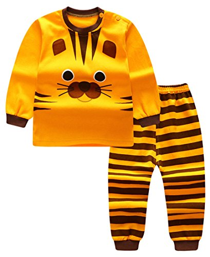 Unisex Baby Boys Girls 2-Piece Cotton Pajama Sleepwear Outfits Set(2-3 Years,Tiger) ()