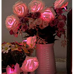 Yosoo 20LED Rose Flower Fairy String Lights For Wedding Garden Party Christmas Valentine's Day Decoration (Pink)