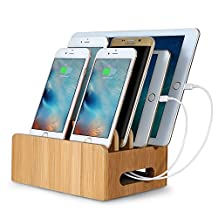 Upow Bamboo Universal Multi Device Cord Organizer Stand and Charging Station Docks for Smart Phones and Tablets