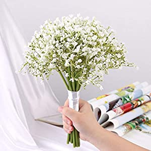 DecoForU 16Pcs Baby's Breath Artificial Flowers Gypsophila Real Touch Flowers for Wedding Party Church Home Decoration (White) 101