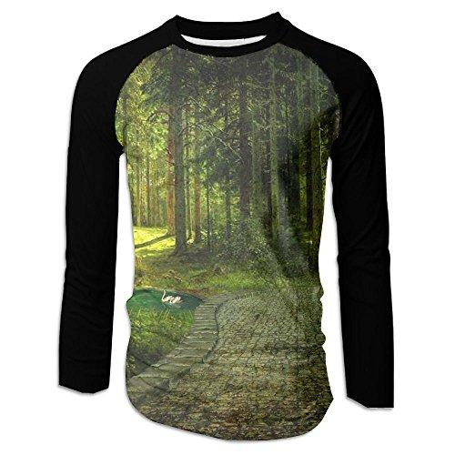 FASHION N WORLD Mens Fantasy Magical Forest Classic Raglan Long Sleeve Tshirts Athletic - Shopping Casuarina
