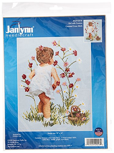 Girl Cross Stitch (Janlynn Counted Cross Stitch Kit, Girls with Cosmos)