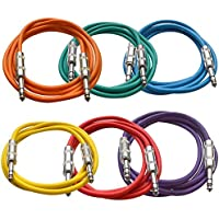 Seismic Audio SATRX-6BGORYP 6 Pack of Multi Color 6 1/4TRS to 1/4 TRS Patch Cables
