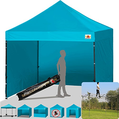 ABCCANOPY Commercial 10x10 Instant Canopy Craft Display Tent Portable Booth Market Stall with Wheeled Carry Bag & Full Walls, Bonus 4x Weight Bag & 10ft Screen Wall & 10ft Half Wall (Turquoise)