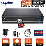 SANNCE Full HD 1080P Lite 8CH DVR Video Recorder Security Digital Recorder, 8-Channel 1080N @ 12fps, HD Analog, 1TB Hard Drive Included, Remote Smartphone Access(Built-in UPS Battery)