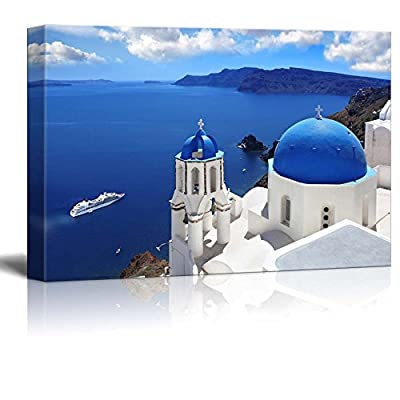 Beautiful Scenery Landscape Amazing Santorini with Churches and Sea View in Greece - Canvas Art Wall Art - 16
