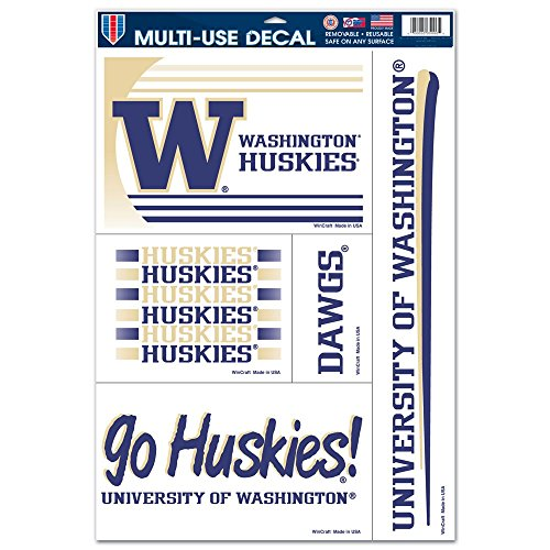 WinCraft Washington Huskies Official NCAA 11 inch x 17 inch Car Window Cling Decal by 887764 (Washington Husky Mascot)