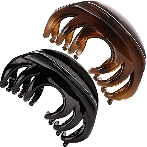 Yishenyishi No-slip Grip Large Crystal Plastic Octopus Jaw Clips Hair Claw Banana Clips for Women (12 Teeth:Black+Brown)