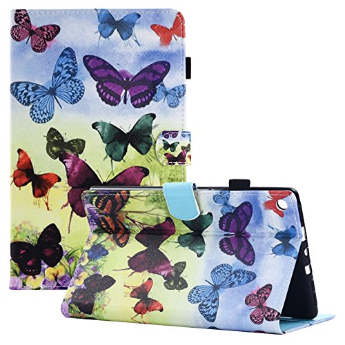UUcovers Kindle Fire HD 8 Case,Slim Fit Folio Stand Case with Auto Wake/Sleep & [Pen Slot] Smart Cover for Amazon Kindle Fire HD 8 7th 2017 & 6th 2016 with Free Stylus, Colorful Butterfly