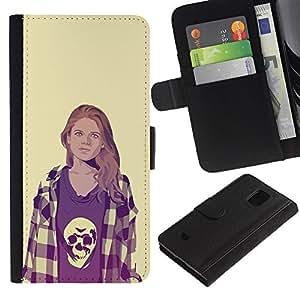 JackGot ( Chica En Camisa del cráneo ) Samsung Galaxy S5 Mini (Not S5), SM-G800 la tarjeta de Crédito Slots PU Funda de cuero Monedero caso cubierta de piel