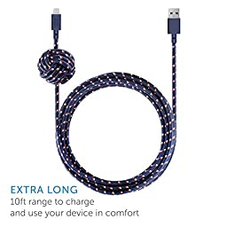 Native Union NIGHT Cable - 10ft Ultra-Strong Reinforced [Apple MFi Certified] iPhone / iPad Lightning to USB Charging Cable with Weighted Knot (Nautical)