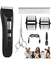 Dog Clippers Cat Shaver, Professional Hair Grooming Electric Clipper Detachable Blades Cordless Rechargeable, Pet Clipper for Thick Coats Long haired Dog Cat, Quiet Animal Clippers and Trimmer