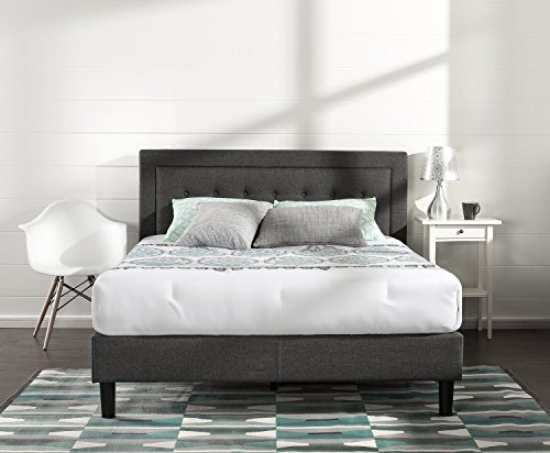 King Platform Queen (Zinus Upholstered Button Tufted Premium Platform Bed/Strong Wood Slat Support/Dark Grey, King)