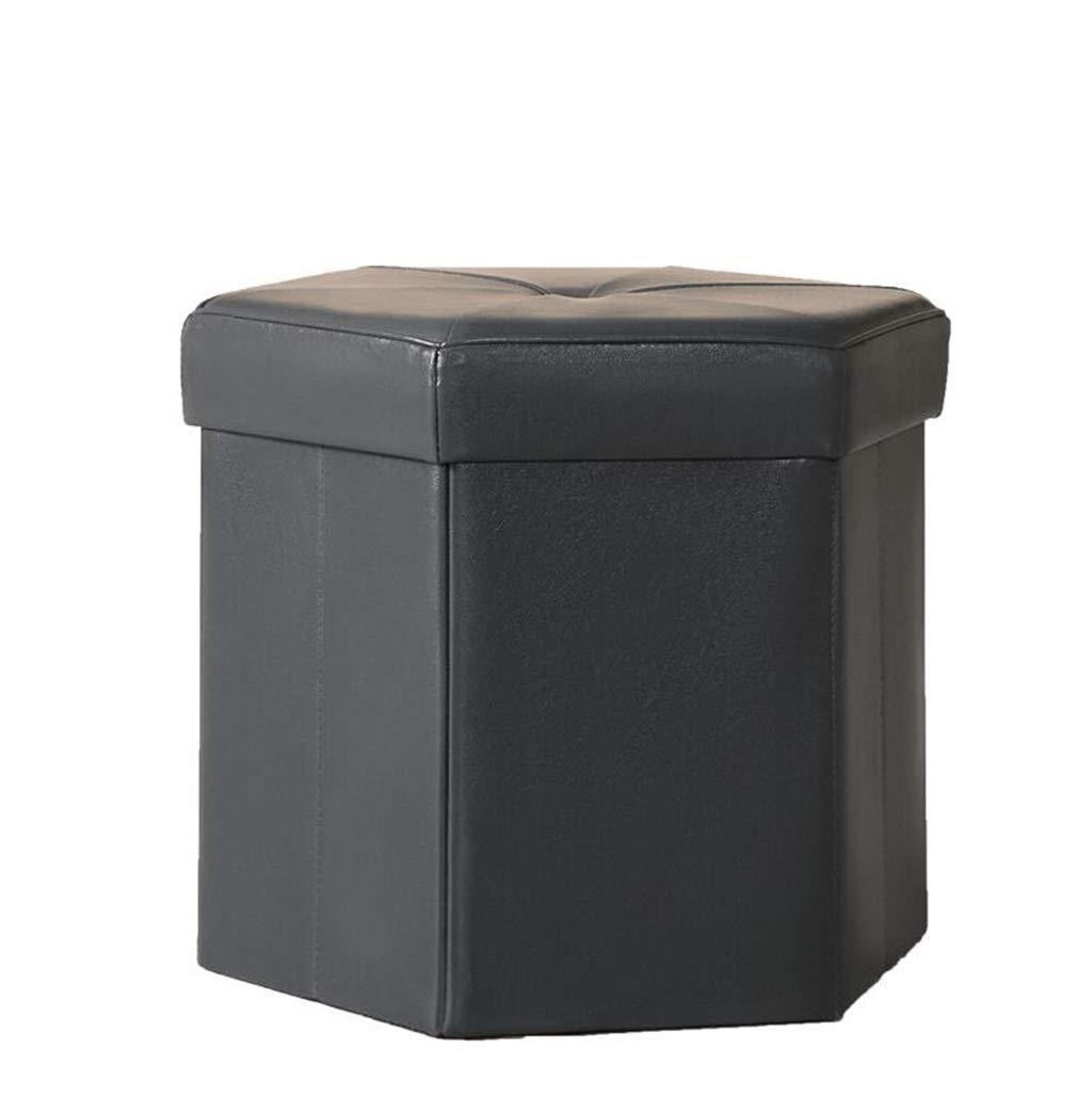 B Storage Stool - Storage Box Can Sit shoes Change Stool Hexagonal PU Storage Stool (color   B)