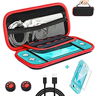 Nintendo Switch Lite Carrying Case,Hard Shell Carrying Bag for Accomodated Nintendo Switch Lite Accessories with 1 pcs Glass screen protector-1 USB C Cable & 2 Thumbstick Caps - Red-Black color