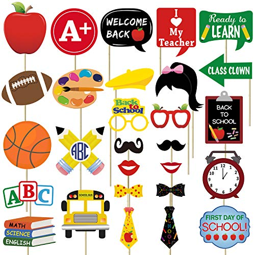 28PCS Back To School Photo Booth Props Kit - No DIY Assembled Required - First Day of School Decorations Party Supplies -