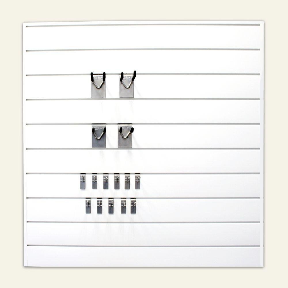 16 sq. ft. Prorack Combo Kit with Wall Panel in White (25-Piece)